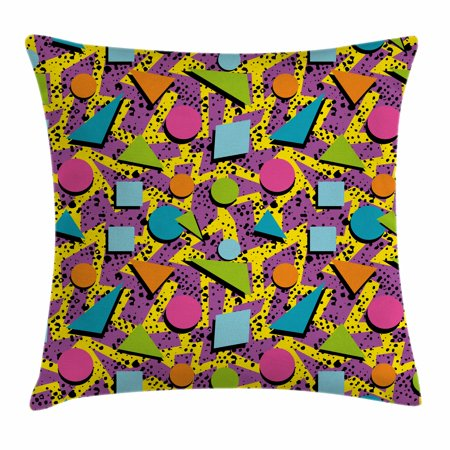 Vintage Throw Pillow Cushion Cover, Funky Geometric 80s Memphis Fashion Style Colorful Figures Pop Art Inspired Pattern, Decorative Square Accent Pillow Case, 18 X 18 Inches, Multicolor, by