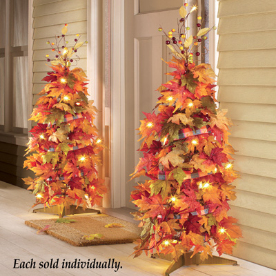 "44"" Lighted Harvest Fall Thanksgiving Collapsible Colorful Maple Leaves Autumn Tree Decoration"