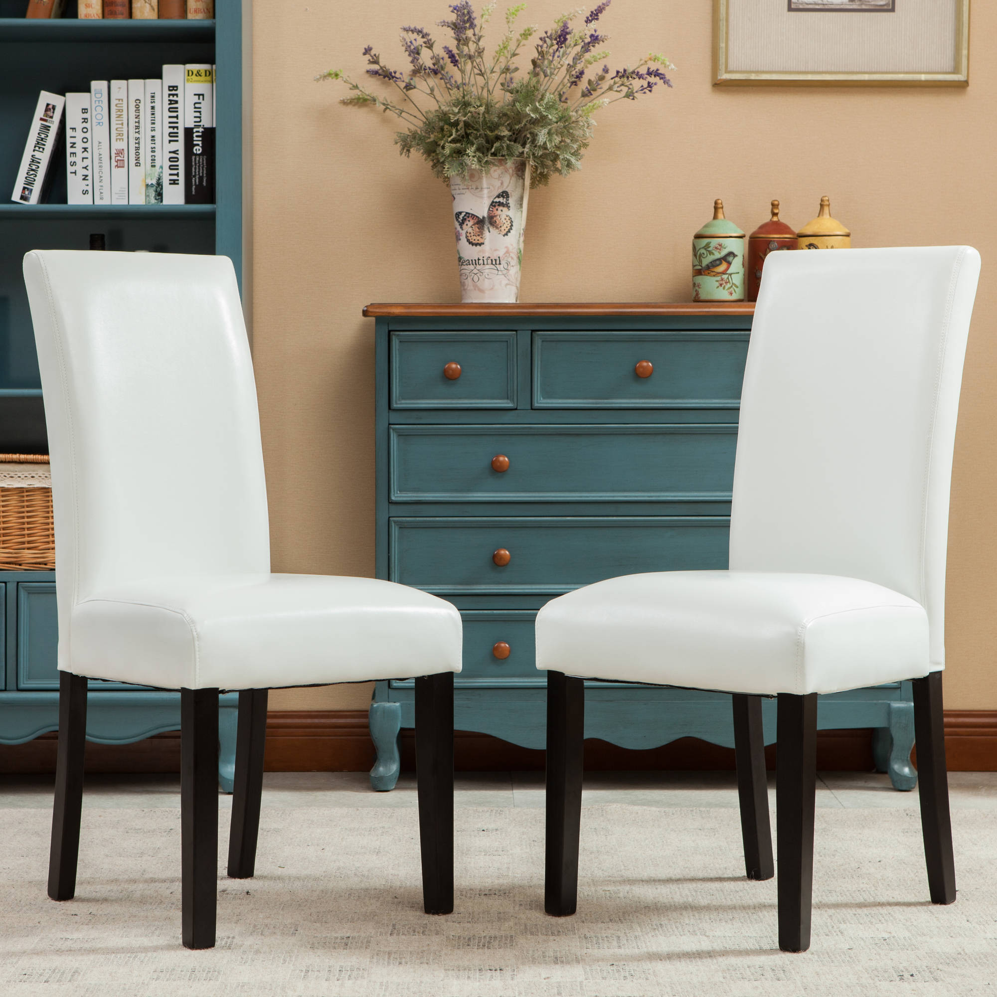 roundhill donatello urban style solid wood leatherette padded parson chair set of 2 multiple colors
