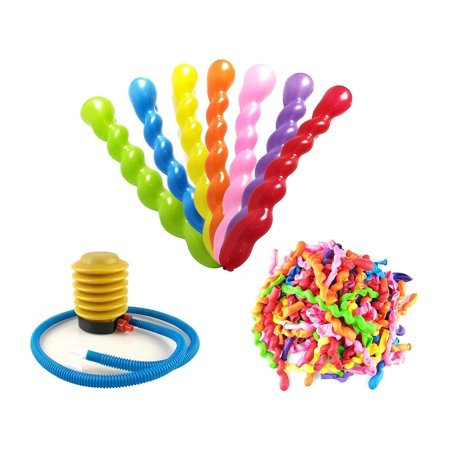 100 PCS Latex Spiral Balloons Assorted Colors for Kids Birthday Party Decoration