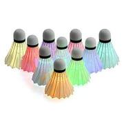 10pcs Novelty Luminous Badminton Balls LED 7 Colors Gradient Badminton Shuttlecock Set Lighting Balls for Yard Games Outdoor Sports Toys
