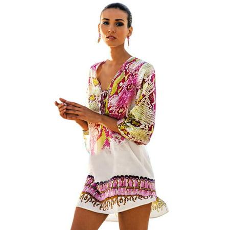 Women Swimsuit Bikini Swimwear Wrap Pareo Cover Up Beach Dress Sarong Tops (Sarong Dress)