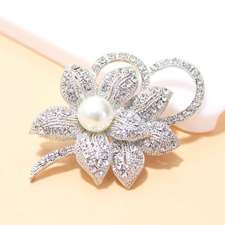 Vintage Style Girl Crystals Imitation Pearl Brooch Women Flower Badge Clothing Bag Breastpin Wedding Accessories - image 2 of 5