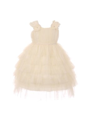 7dd10588c4 Product Image Baby Girls Ivory Ruffle Tiered Rhinestone Flower Special  Occasion Dress