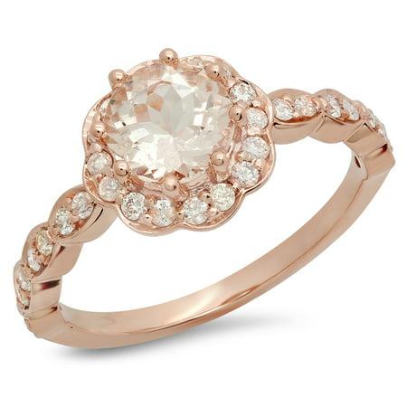 14K Gold Round Morganite & White Diamond Ladies Bridal Flower Shaped Halo Engagement Ring