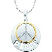 Gold and Diamonds SPF3502-W 0.10CT-DIA ''PEACE'' PENDANT- Size 7