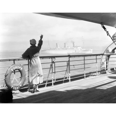 1930s Back Of Woman At Rail Of Cruise Ship Ss Europa Poster Print By Vintage Collection