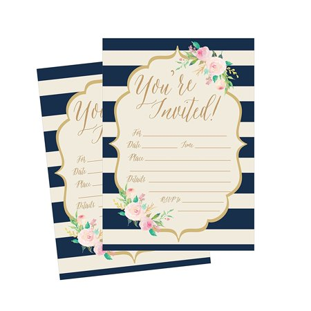 50 Navy Invitations, Bridal Shower Invite, Baby Shower Invitations, Wedding, Rehearsal Dinner Invites, Engagement, Bachelorette Party, Reception Party, Anniversary, Housewarming, Graduation, Sweet 16