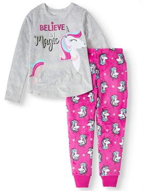 Wonder Nation Girl's Pocket Pajama Sleep Set (Little Girls, Big Girls, and Big Girls Plus)