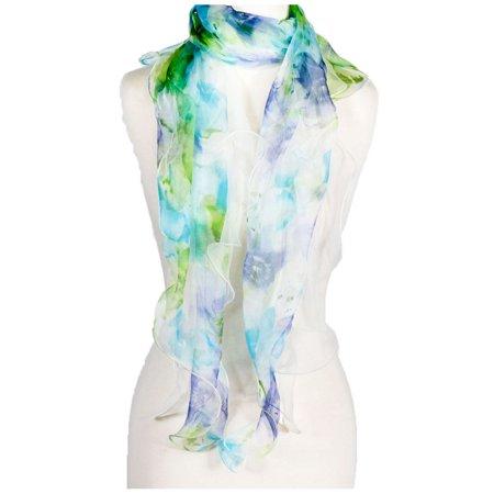 Ruffled Scarf - Women's Laies Fshion Long Floral Ruffle Silk Scarf Neck Scarves Shawl Wrap
