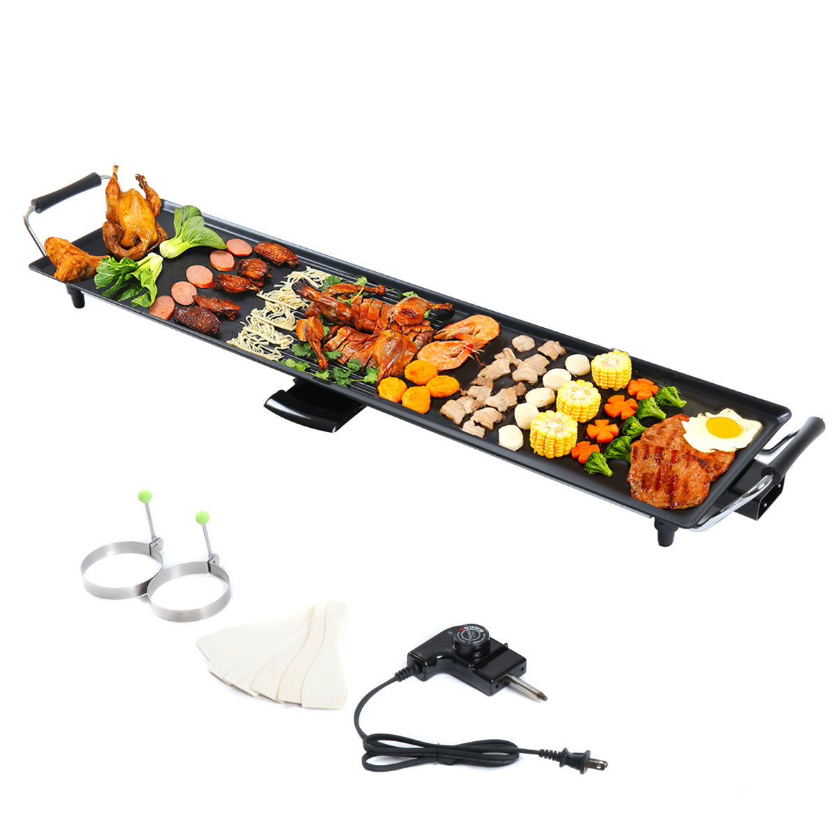 "Lazymoon Electric Nonstick Griddle 35"" X 9"" Family Size Teppanyaki Griddle Kitchen Grill Pancake for BBQ Indoor for BBQ Indoor Outdoor"