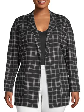 Plus Moda Women's Plus Size Menswear Knit Blazer