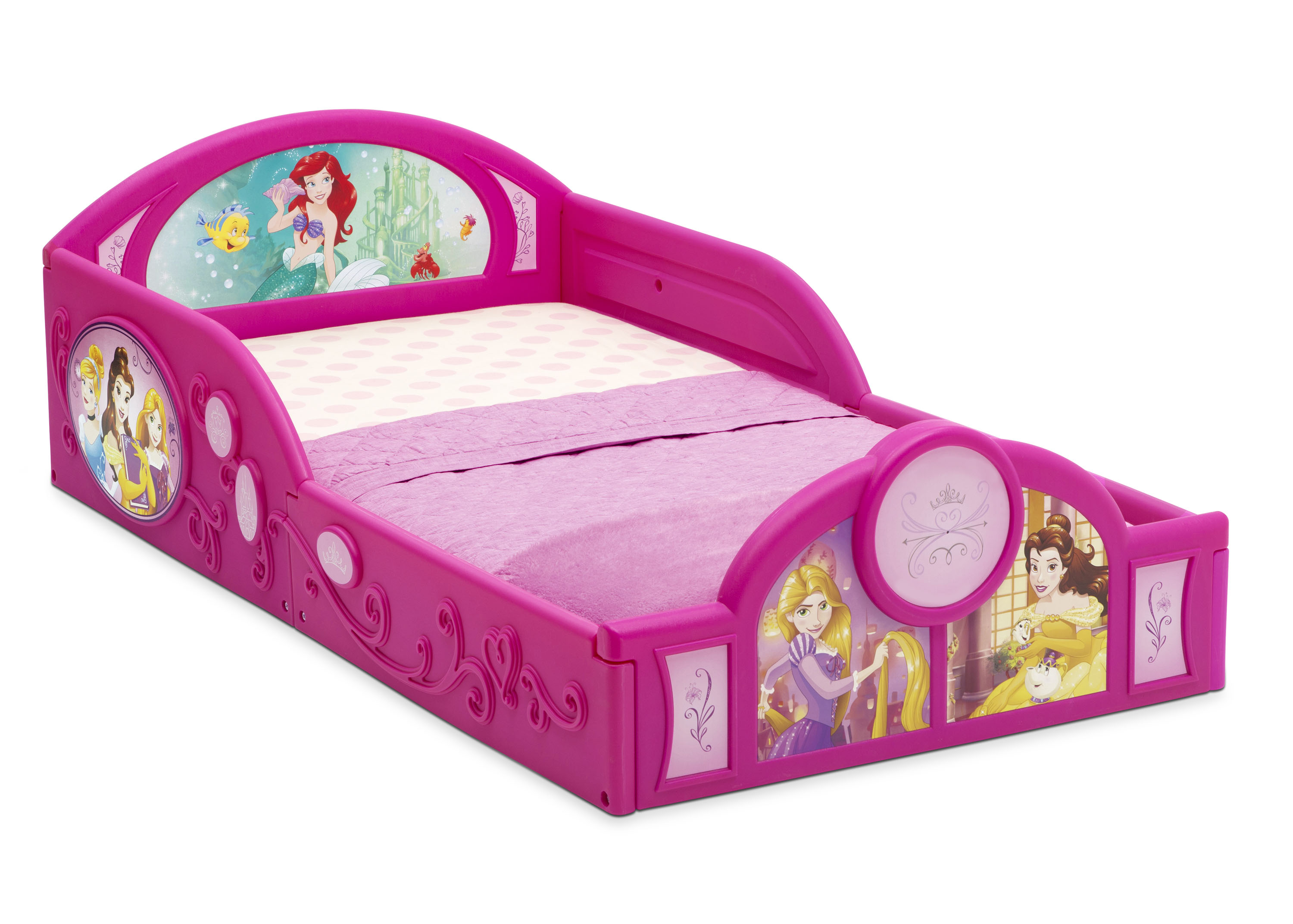 Disney Princess Deluxe Toddler Bed With Attached Guardrails