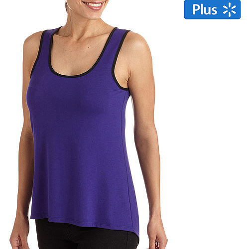 Juniors' Plus Sleeveless Tank with Lace Panel