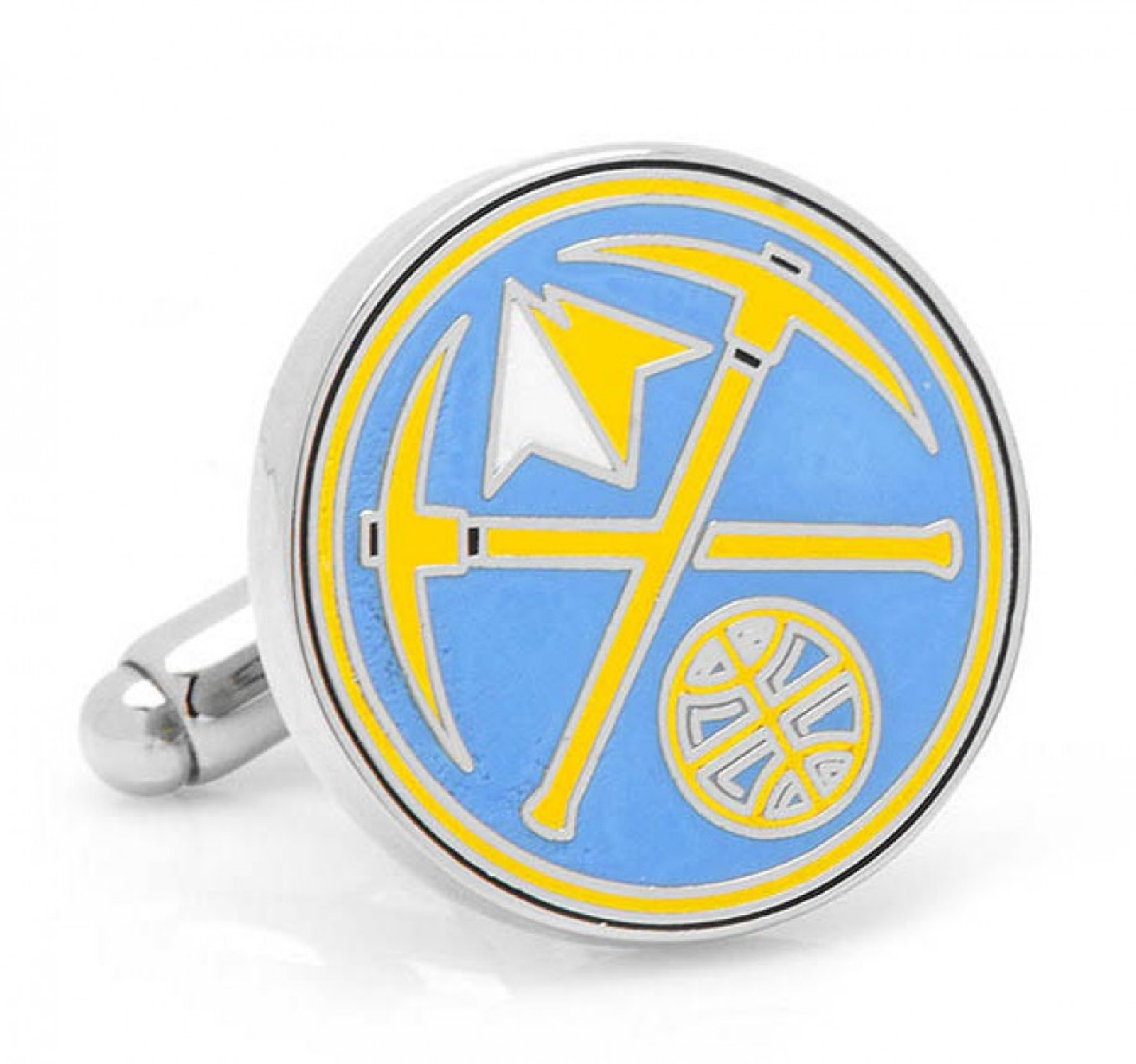 NBA Mens Denver Nuggets Cufflinks w/ New Collectible Gift Box PD-DNUG-SL