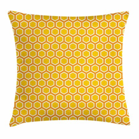 Bee Throw Pillow Cushion Cover, Geometric Hexagon Shapes as Colorful Yellow Toned Honeycomb Pattern, Decorative Square Accent Pillow Case, 18 X 18 Inches, Yellow White and Marigold, by Ambesonne - Shape Of A Honeycomb