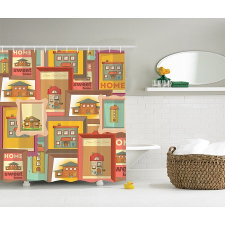 Country decor home sweet home primitive americana shower curtain set extra long