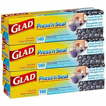 Mega Value Glad Press'n Seal, All Surface Cling Wrap, Leak-Proof and Airtight Seal, BPA Free, Total 420 sq ft (Press N Seal Freezer Wrap)