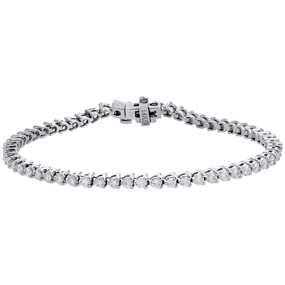 Ladies 14K White Gold 3 Prong Set Tennis Diamond Bracelet 6.75"