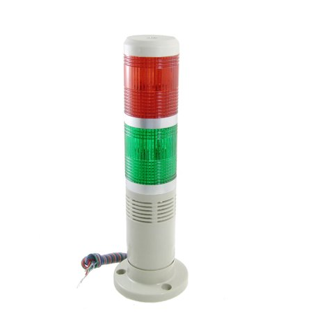 Red Green Industrial Tower Lamp Buzzer Alarm Warning Stack Light 24V DC