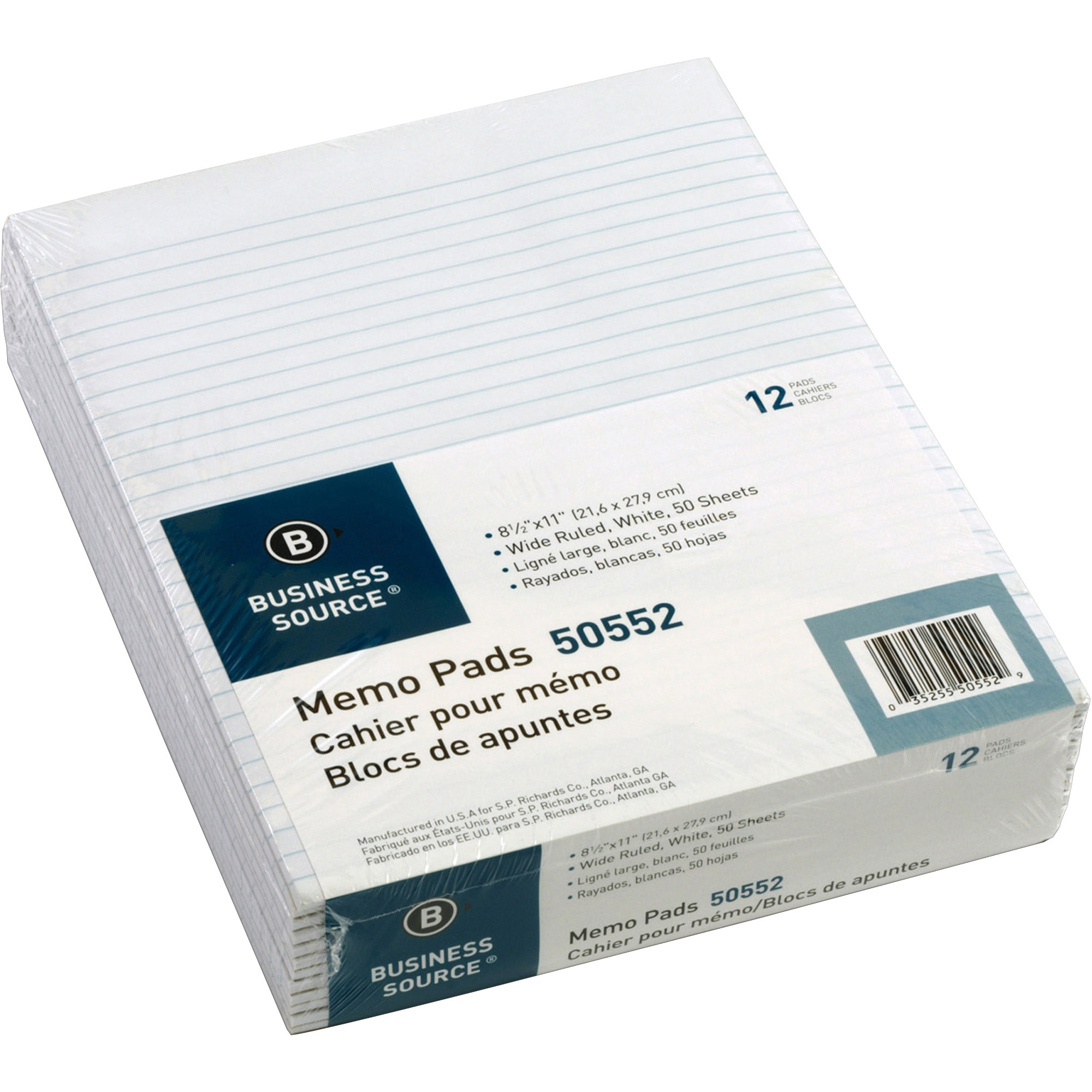 Business Source, BSN50552, Glued Top Ruled Memo Pads - Letter, 12 / Dozen