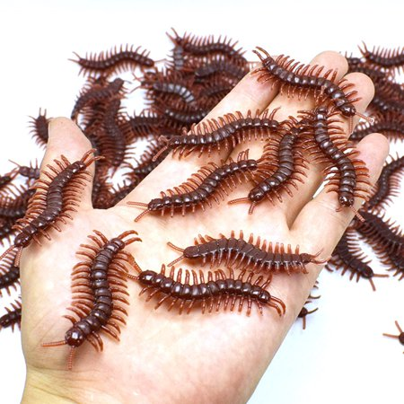 Outtop 10Pcs Creative Hot selling PVC Artificial centipede Insect Animal  Model Toys