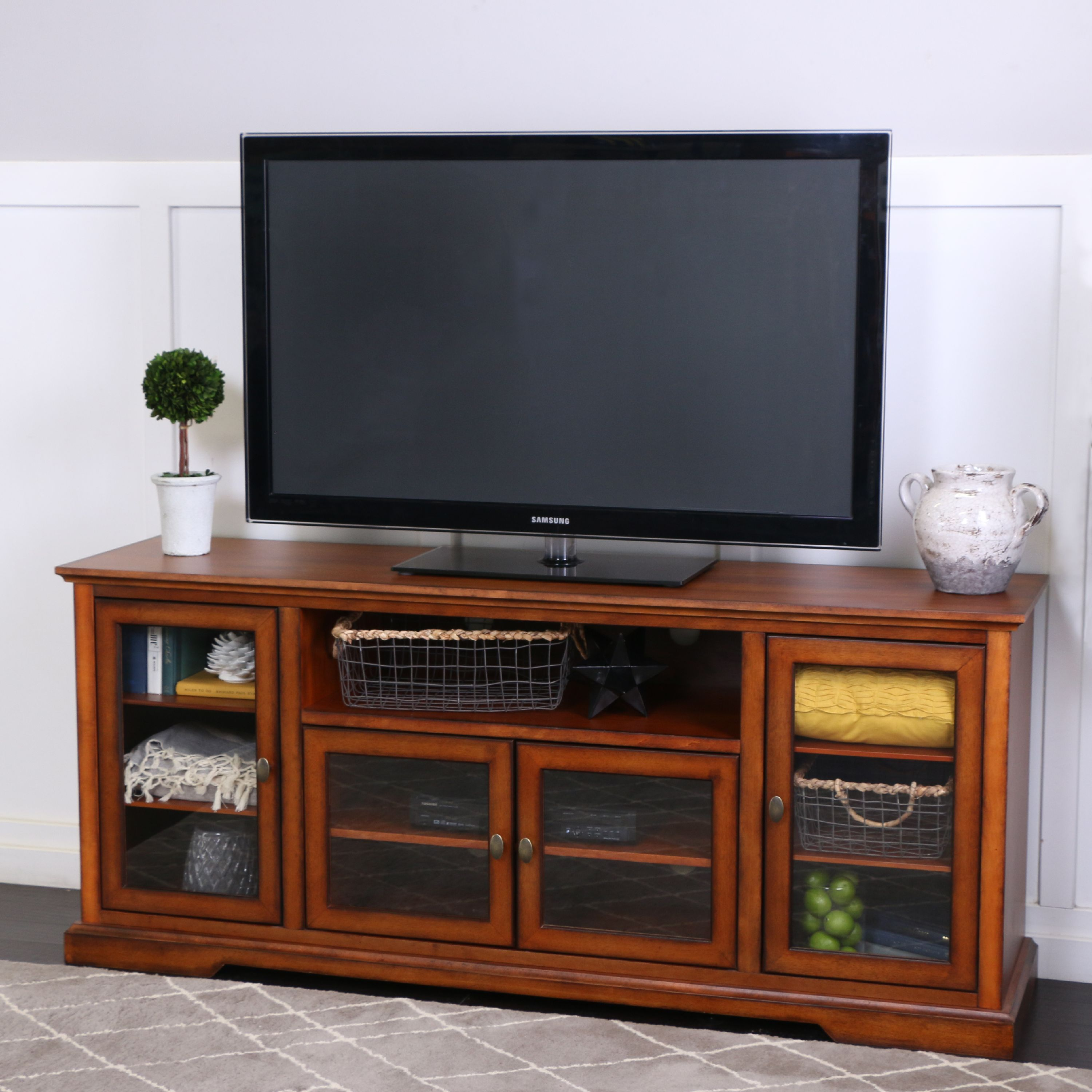 """Manor Park Tall TV Stand for TVs up to 70"""", Espresso"""