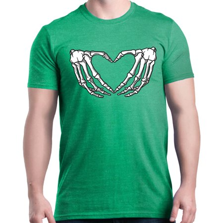 Shop4Ever Men's Skeleton Hands Making Heart Heather Graphic T-shirt