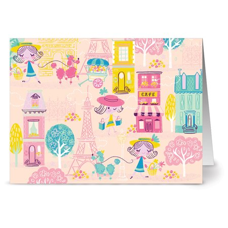 24 Note Cards - Poodles in Paris - Blank Cards - Hot Pink Envelopes Included
