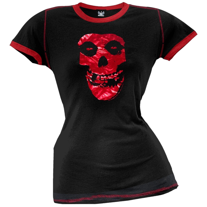 Misfits - Red Foil Skull Juniors Ringer T-Shirt