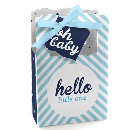Hello Little One - Blue and Silver - Boy Baby Shower Party Favor Boxes - Set ... - Hello Kitty Party Favors