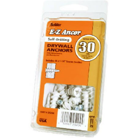 Itw Brands 25200 Drywall Anchors, Self-Drilling, Plastic, #50, 25-Pk.
