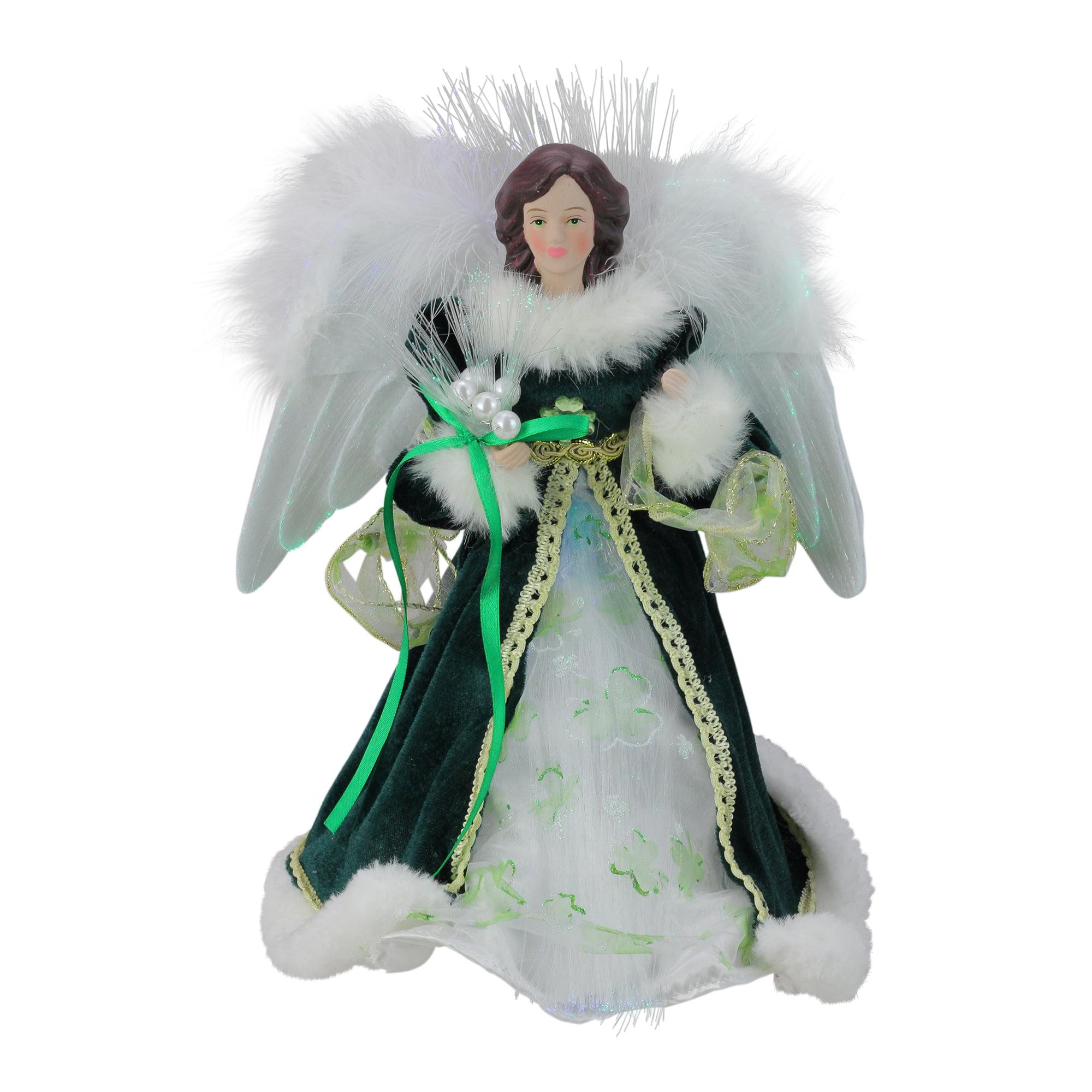 "12"" Luck of the Irish Fiber Optic Angel in Shamrock Dress Christmas Tree Topper"