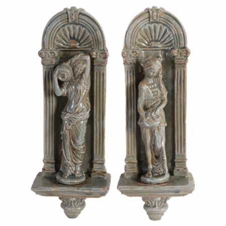 Grecian Appeal Ceramic Wall Decors, Set of 2, Gray ()
