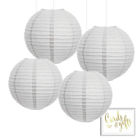 Andaz Press Hanging Paper Lantern Party Decor Kit with Free Party Sign, White, 4-Pack - Party Lanterns