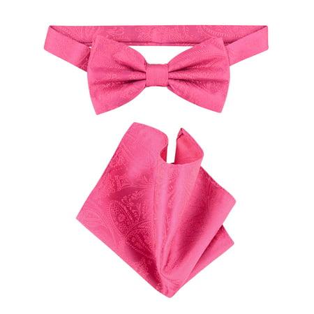 Vesuvio Napoli BowTie Hot Pink Fuchsia Paisley Mens Bow Tie & - Hot Pink Bow Tie