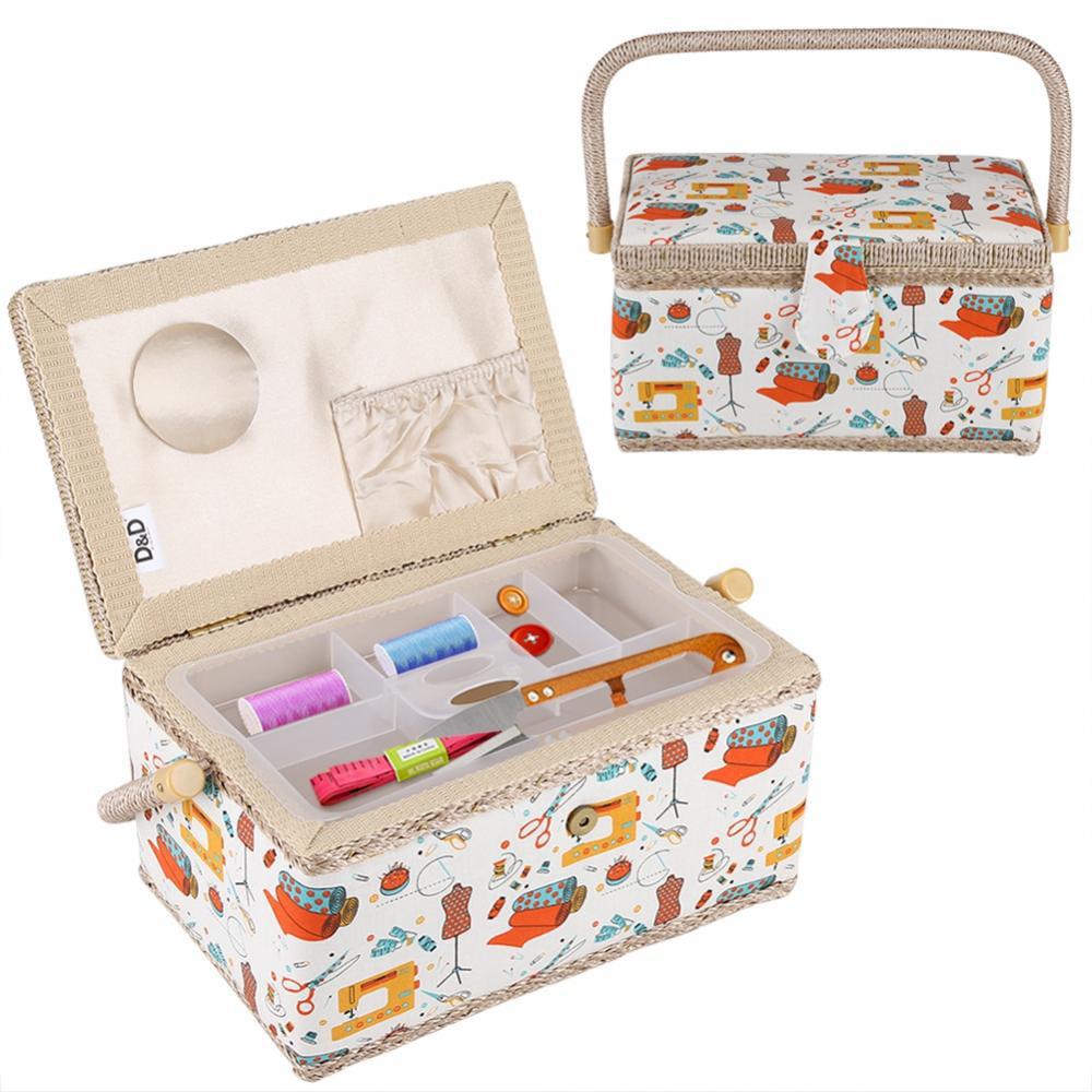 Yosoo Fabric Sewing Basket Craft Box Household Sundry Storage Organizer with Handle, Fabric Sewing Basket, Storage Box