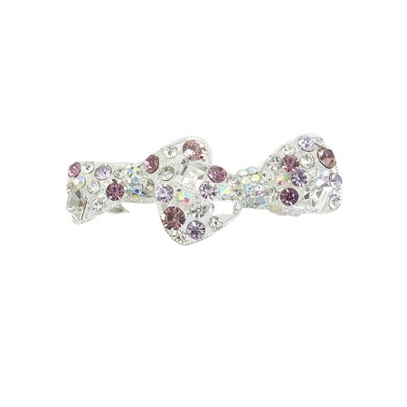 Unique BargainsPurple Rhinestone Double Bow Tie Silver Tone Metal French Clip Hair Barrette (Bow Tie Clips)