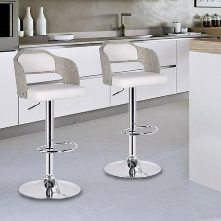 Furnistars Notviken White Leatherette Modern Bar Stool With Back