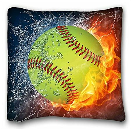 WinHome Custom Softball Art Pattern Pillowcase Cushion Cover Design Standard Size 18x18 Inches Two Side Print