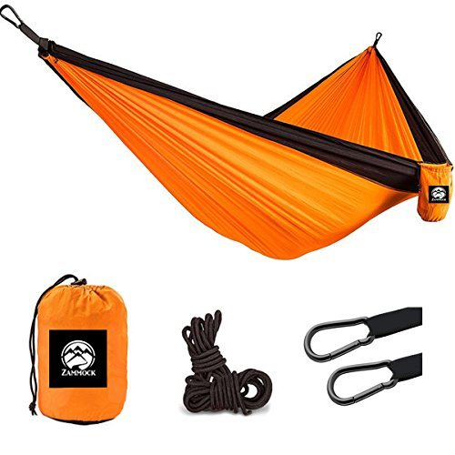 Camping Hanging Double Person Travel Hammock Outdoor With Steel Carabiners