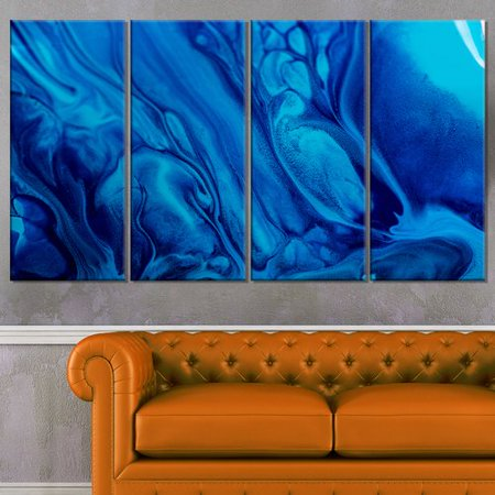 Dark Blue Abstract Acrylic Paint Mix 4 Piece Graphic Art On Wrapped Canvas Set