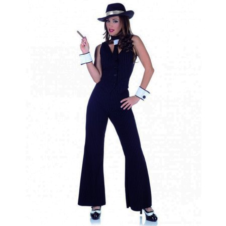 Black Bugsy Gangster Babe Adult Womens Halloween Costume - - Halloween Gangsta Costumes