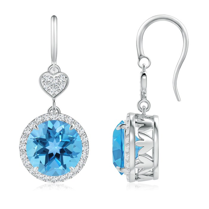 Angara Claw-Set Swiss Blue Topaz Dangle Earrings with Heart Motif 7aK0KhGM