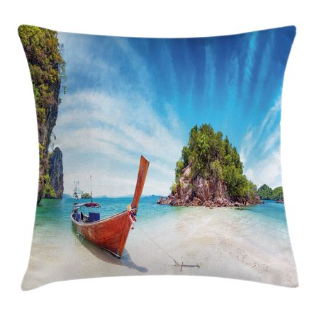Tropical Throw Pillow Cushion Cover, Surreal Beach in Thailand with an Old Wooden Boat Island Ocean Picture, Decorative Square Accent Pillow Case, 18 X 18 Inches, Fern Green Blue Cream, by Ambesonne - Ferns Long Beach