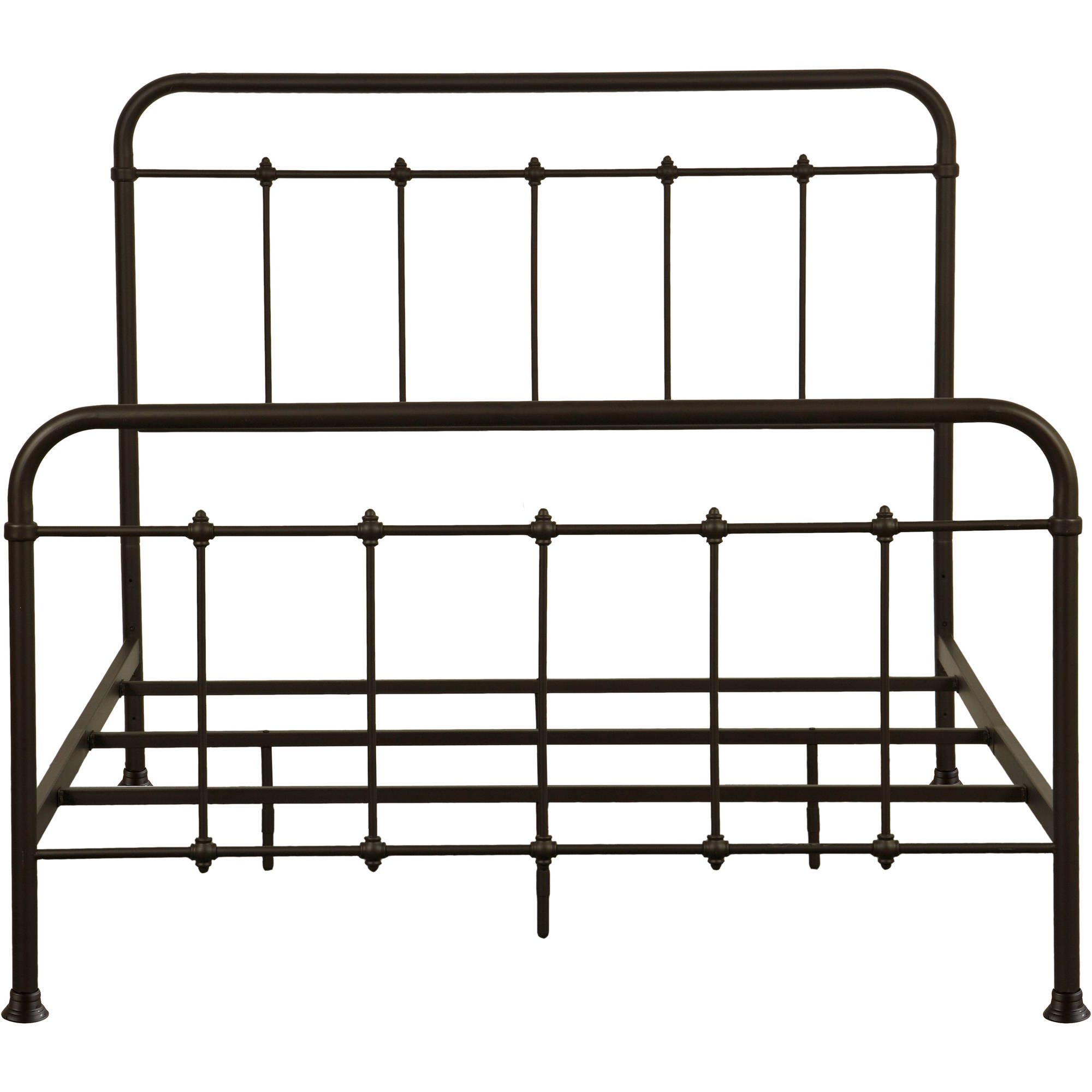 "All-in-One Brown ""Curve"" Metal Bed, Queen"