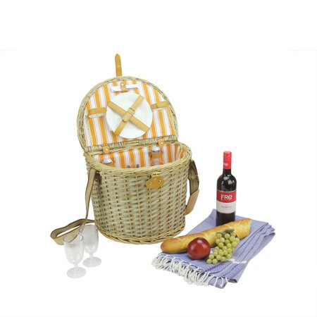 2 Person Hand Woven Warm Gray And Natural Striped Willow Picnic Basket Set With Accessories
