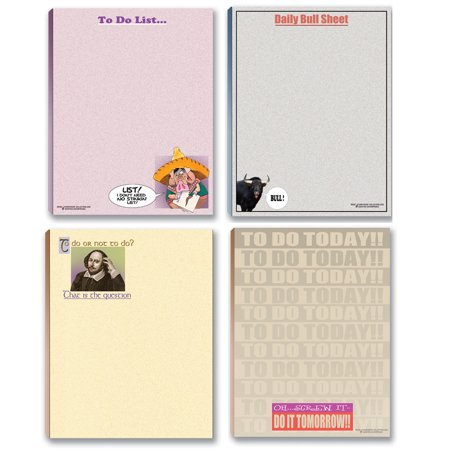Funny To Do List Note Pad Assorted Pack   4 Funny Notepads