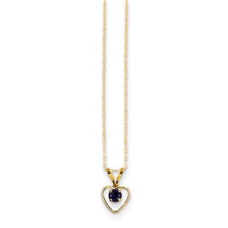 14k Yellow Gold 3mm Sapphire Heart Birthstone Chain Necklace Pendant Charm Kid Gifts For Women For - Gold Sapphire Heart Charm