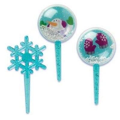 - Snowglobe and Snowflake Cupcake Picks - 12 Count - National Cake Supply